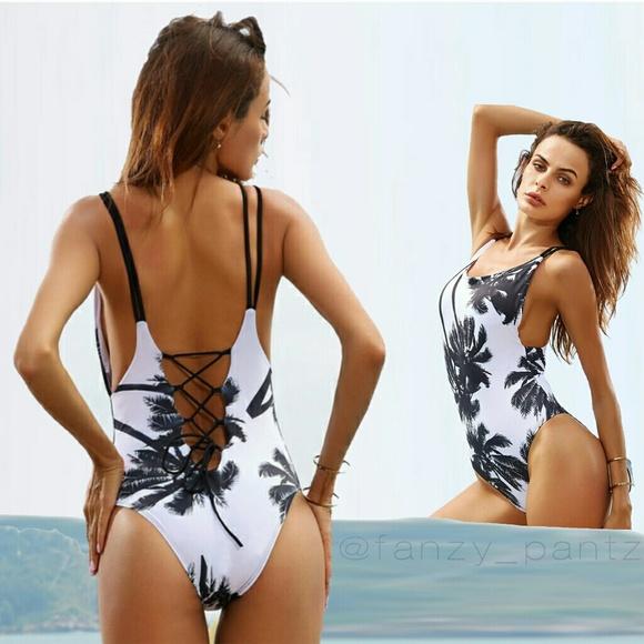 d68f472686794 Swim | Tropical One Piece Lace Up Suit | Poshmark
